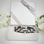 Black leather bracelet silver beads in gift box