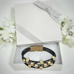 Leather Bracelet Black with Gold Beads in Gift Box