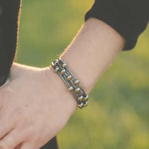 Gray Leather Womens Bracelet with Silver Beads close up by Wrap Your Style