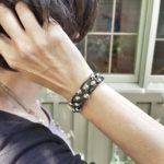 Black Leather Bracelet with Silver Beads and Magnetic Clasp