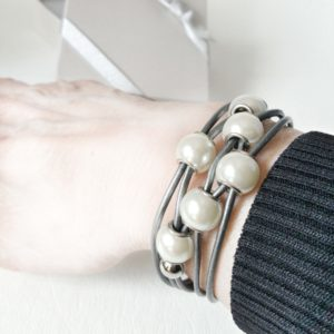 Gray Leather Pearl Bracelet on the wrist shows how the large pearls will look against your skin.