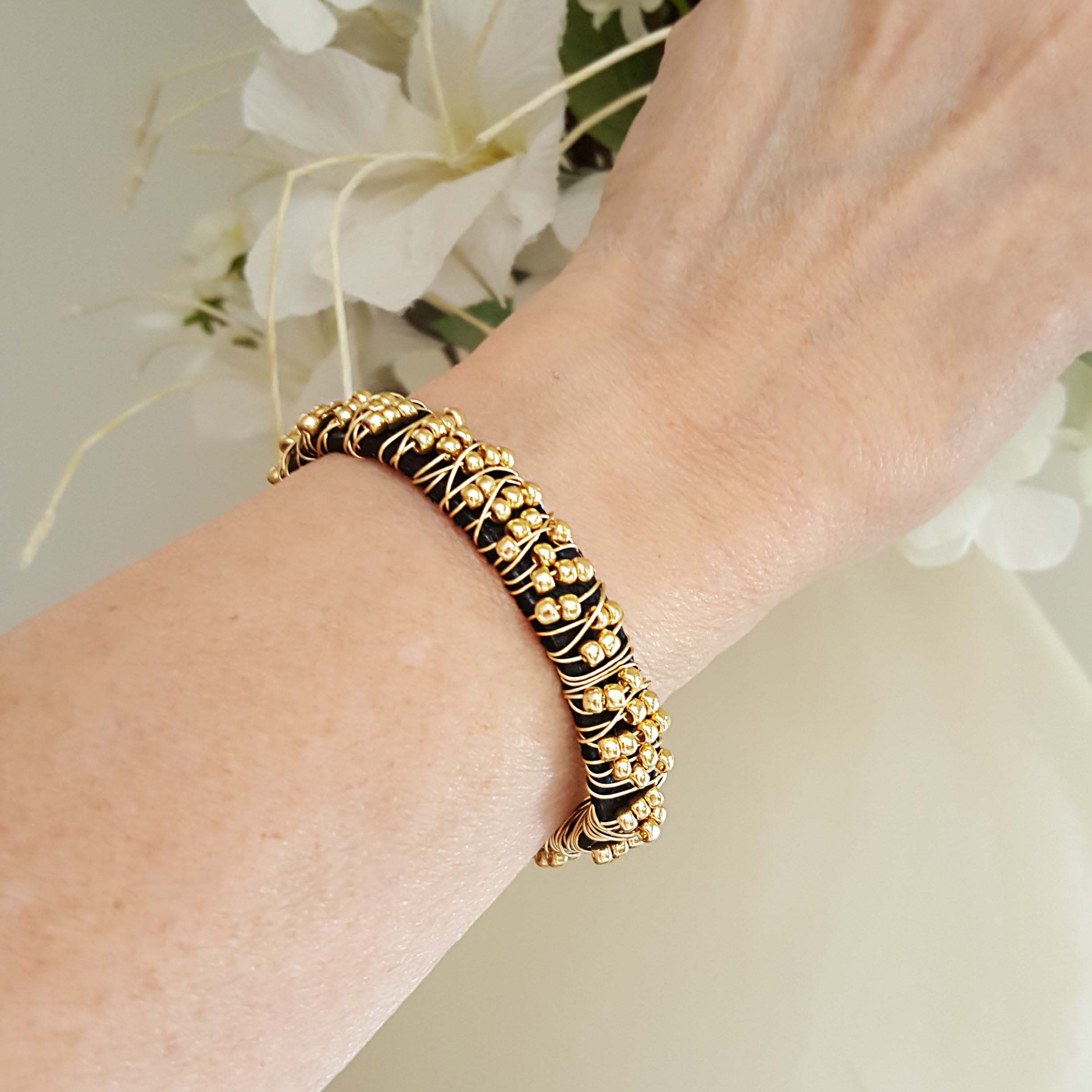 Wire Wrapped Beaded Bracelet Gold Beads - Wrap Your Style