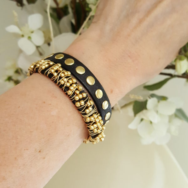Fashion Jewelry Leather Beaded Stacking Bracelet Set