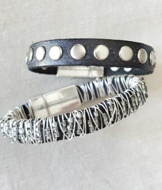 Leather Silver Beaded Stacking Bracelets