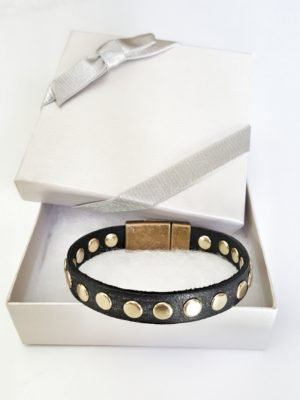 Leather Gold Rivets Accented Stacking Bracelet in gift box