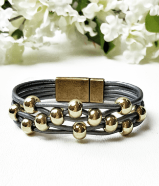 Gray Leather Womens Bracelet with gold color round beads and magnetic clasp