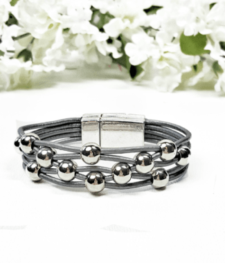 Gray Leather Bracelet for women with silver plated round beads and magnetic clasp