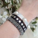 Stack Bracelets Pearls Silver Beads Studs