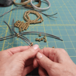 Making the leather beaded bracelet - adding the beads