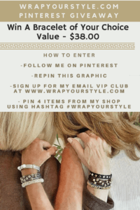 Pinterest Giveaway-Win A Free Bracelet Of Your Choice. Enter by following these steps.