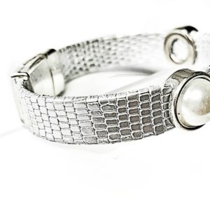 Silver Leather Bracelet with pearls showing close up of the textured leather.
