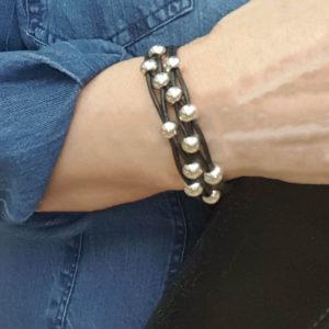 Black Leather Bracelet Silver Beads on wrist