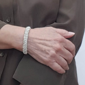 Champagne Stack Bracelet close up on a wrist