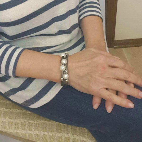 Gray Leather and Pearl Bracelet on wrist