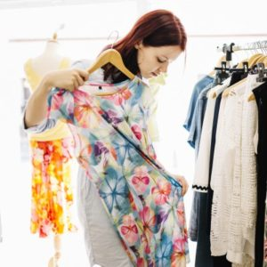 Woman Shopping for Floral Dress