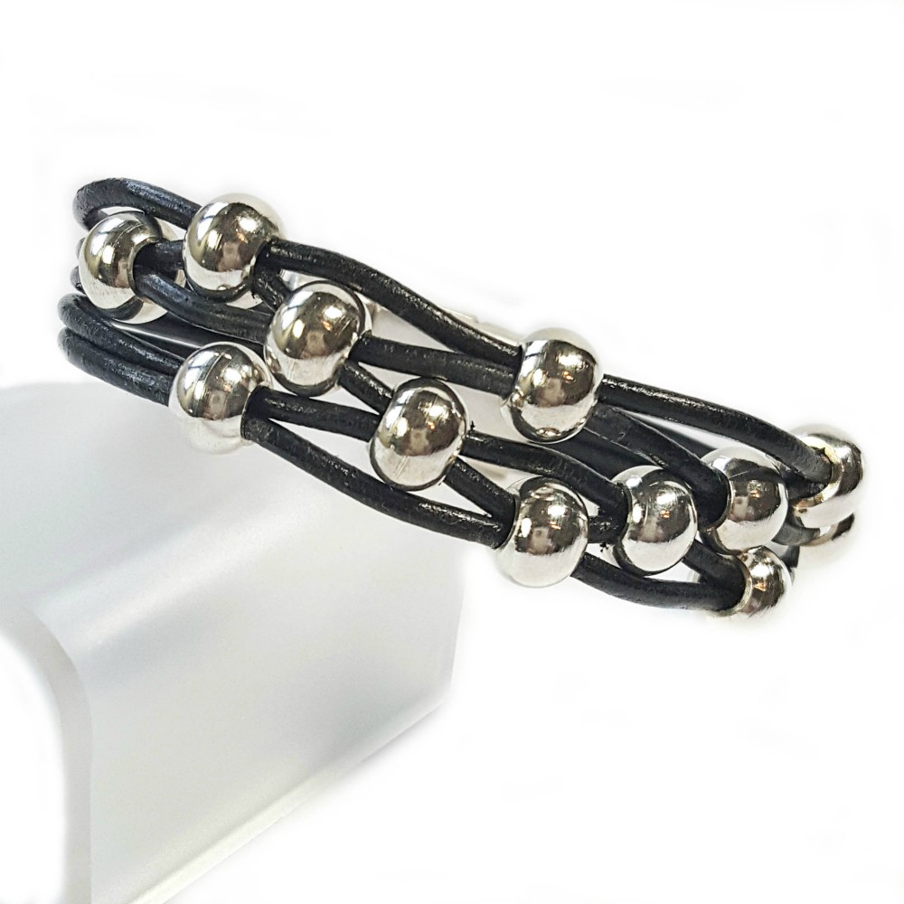 Silver Beads: Black Leather And Silver Bead Bracelet For Women Is