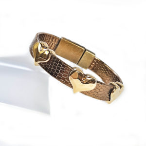 Bronze Textured Leather with three Gold Hearts and a magnetic clasp