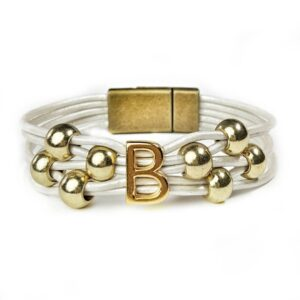 White leather initial bracelet with gold initial B and beads