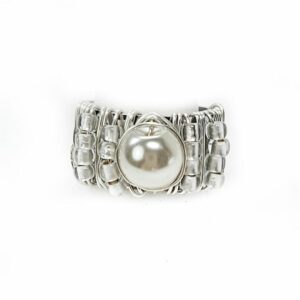 Adjustable silver ring with pearl center stone.