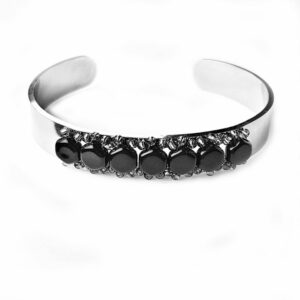 Silver Cuff Bracelet beaded with jet black Czech beads. Adjustable to fit most wrists.