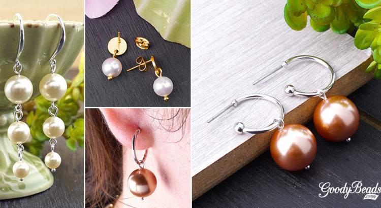 4 Beautiful Pearl Earrings you can make yourself with this easy tutorial. These are made with Swarovski Crystal Pearls.