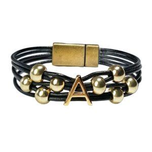 Black leather initial A bracelet