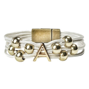 Initial A White Leather Bracelet