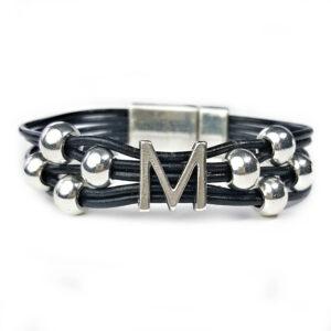 Grey Leather Bracelet Initial M silver
