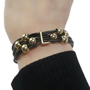 Black Leather Bracelet Initial L on wrist
