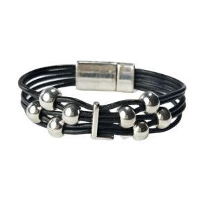 Black Leather Bracelet Silver Initial L