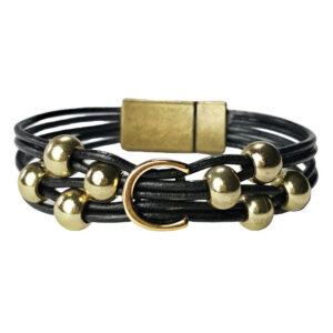 Black leather with gold C and beads.