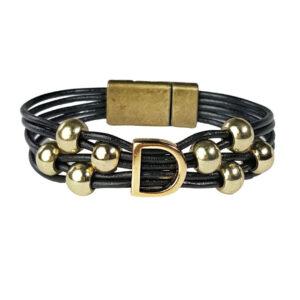 Black Leather Bracelet gold initial D