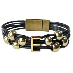 Initial Bracelet E on Black Leather