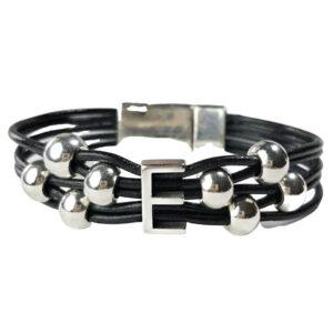 Black Leather Bracelet Initial E