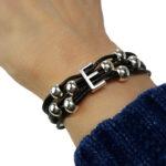 Initial E Leather Bracelet on wrist.