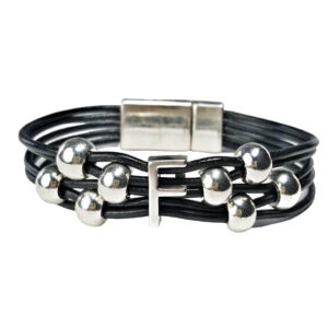Initial Bracelet F on Black Leather