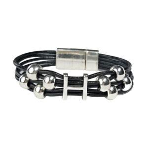 Black Leather Bracelet Initial H