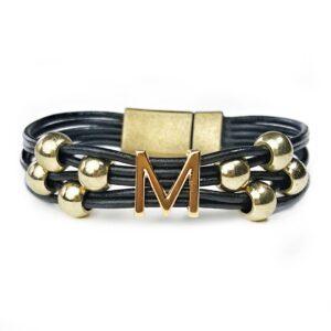 Black Leather Bracelet Initial M Gold