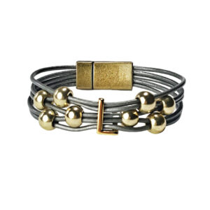 Grey Leather Bracelet Gold Initial L