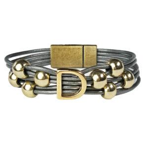 Grey Leather Bracelet Initial D gold.