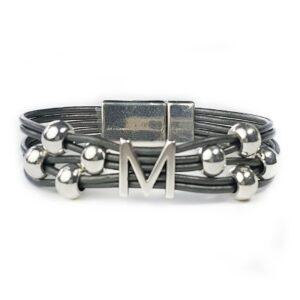 Personalized grey leather bracelet with silver M