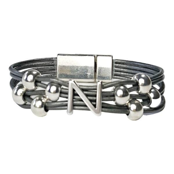 Initial N Grey Leather Bracelet