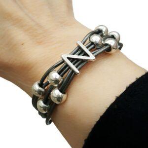 Grey Leather Bracelet Initial N