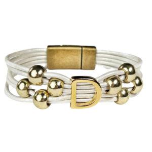 White Leather Bracelet Initial D