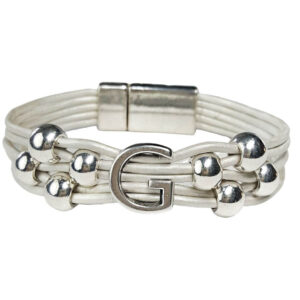 Initial G White Leather Bracelet