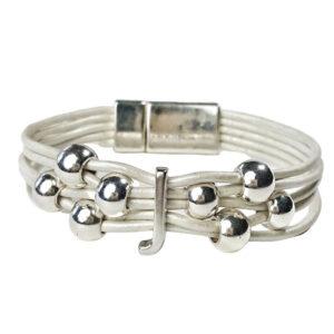 Initial J White Leather Bracelet