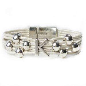 White Leather Bracelet Initial K silver