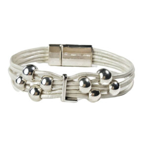 White Leather Bracelet Silver Initial L