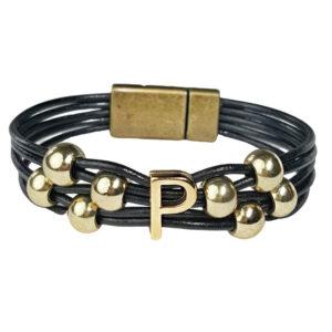 Black Leather Bracelet Initial P gold
