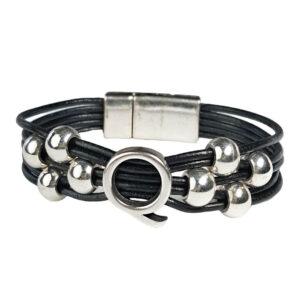 Black Leather Bracelet Silver Initial Q
